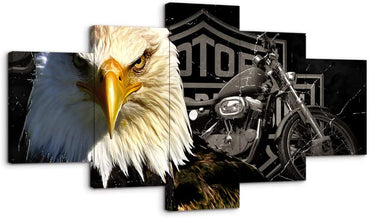 Canvas Wall Art | Eagle & Motorcycle Canvas Prints 5 Panels