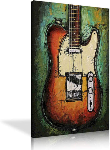 Canvas Wall Art | Abstract Guitar Picture Canvas Painting