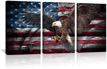 Canvas Wall Art | American Flag & An Eagle Canvas Prints 3 Panels