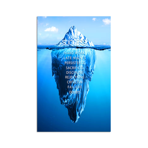 Canvas Wall Art | Iceberg Success Inspirational Canvas Prints Framed Ready to Hang