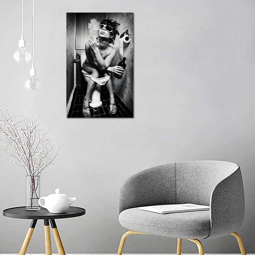 Canvas Wall Art Modern Bar Girl Smoking And Drinking In The Toilet C