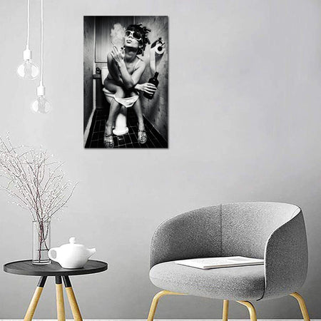 Canvas Wall Art | Modern bar girl smoking and drinking in the toilet Canvas Print Framed to Hang