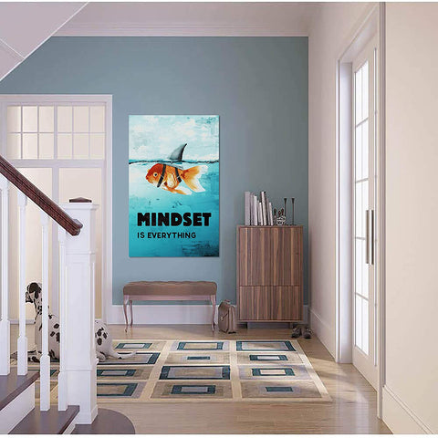 Canvas Wall Art | Mindset is Everything Fish & Shark Canvas Painting