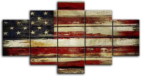 Canvas Wall Art | American Flag in Retro Wood Grain Style Canvas Prints 5 Panels