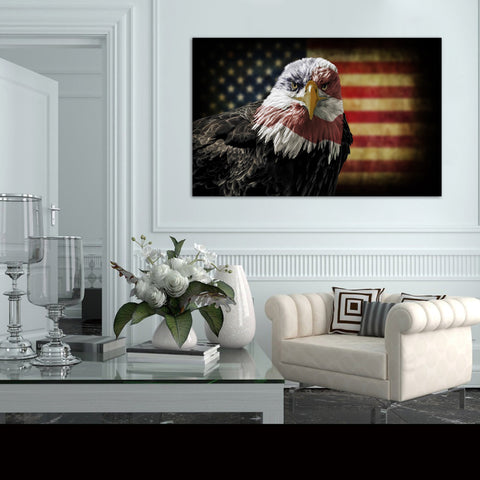 Canvas Wall Art | Eagle&American Flag Canvas Prints Framed Ready to Hang