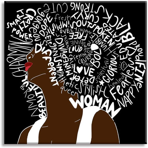 Canvas Wall Art | African American Woman with Letter Hair Canvas Prints