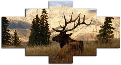 Canvas Wall Art | Wild Deer on The Grassland Canvas Painting 5 Panels