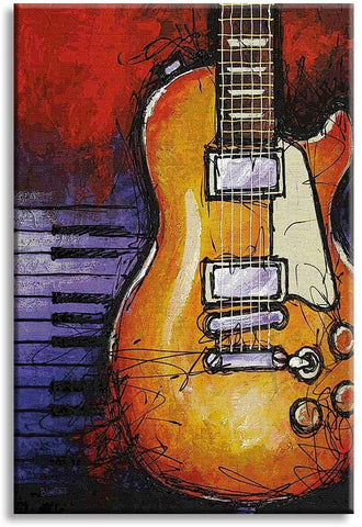 Canvas Wall Art | Abstract Guitar and Piano Canvas Painting