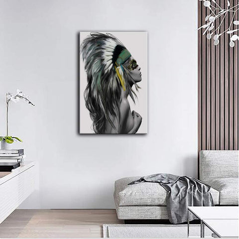 Canvas Wall Art | Woman in Mayan Feather Headdress Canvas Painting