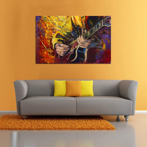 Canvas Wall Art | Abstract Guitar Playing Canvas Painting