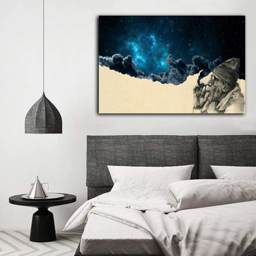 Canvas Wall Art | A Smoking Old Man and Starry sky Canvas Painting