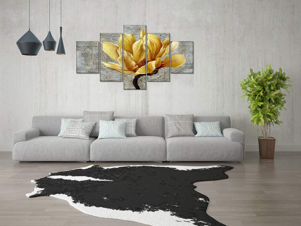 Canvas Wall Art | Grey and Yellow Flower Canvas Painting 5 Panels