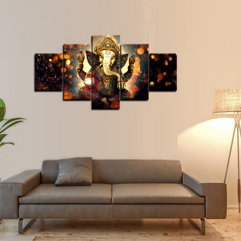 Canvas Wall Art | The Hindu God Ganesh Canvas Painting 5 Panels