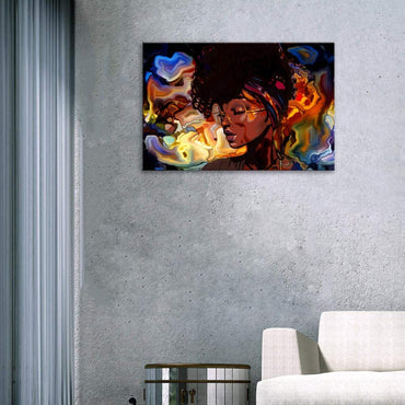 Canvas Wall Art | African American Black Girl Abstract Art Canvas Prints