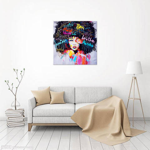 Canvas Wall Art | Abstract Colorful Woman Canvas Prints Framed Ready to Hang