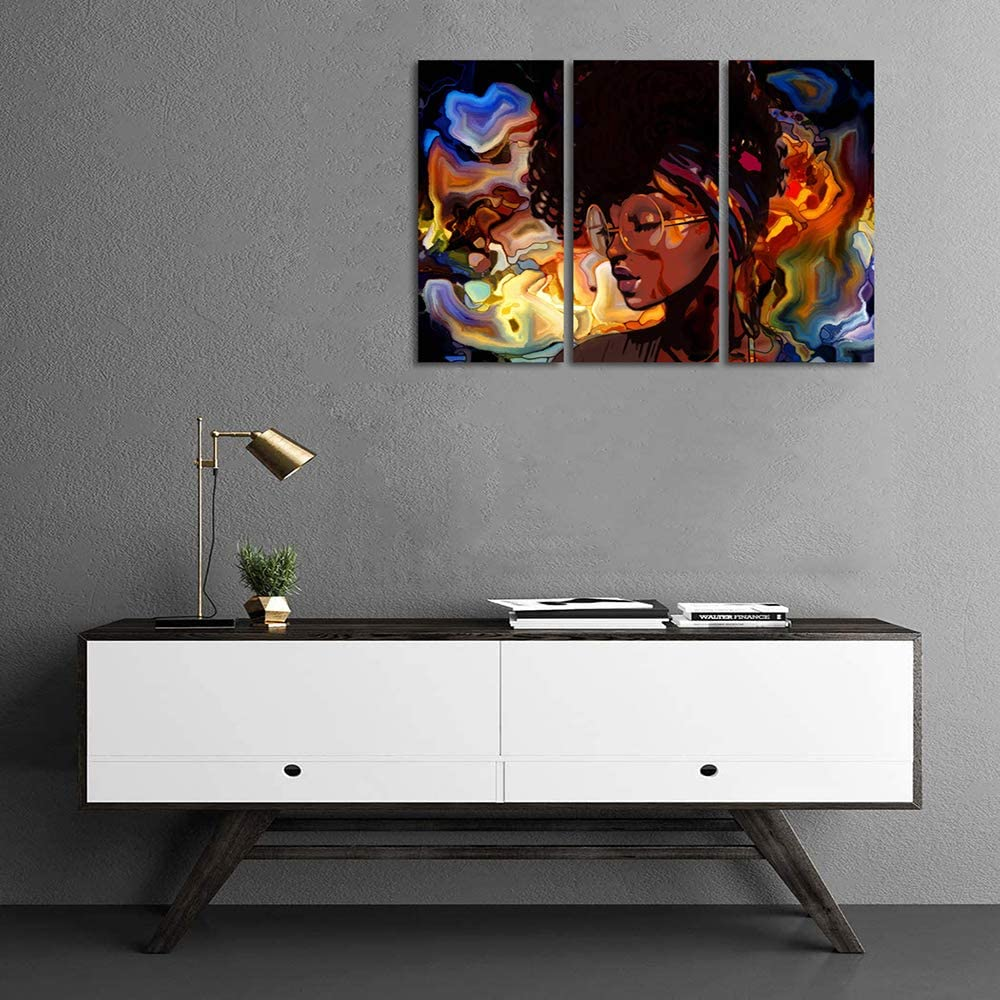 Canvas Wall Art | African American Black girl Canvas Prints 3 Panels