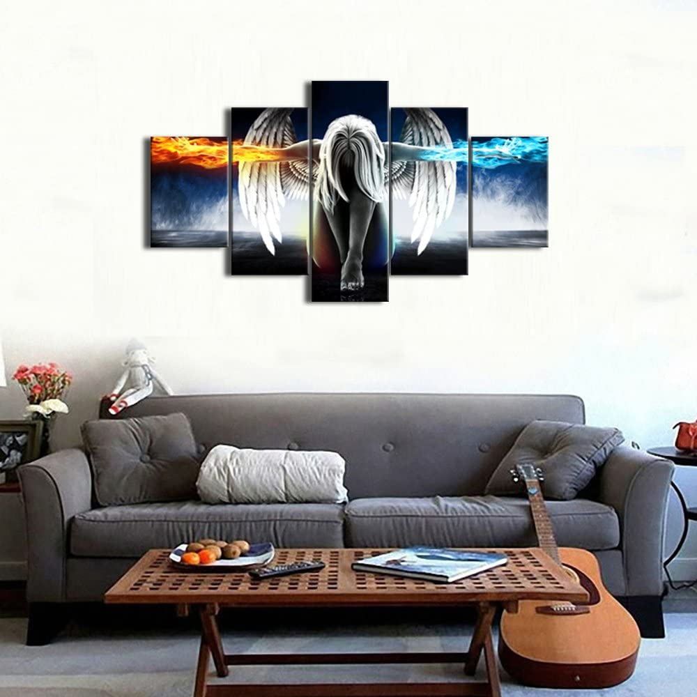 Canvas Wall Art | Fire and Ice Angel Canvas Painting 5 Panels