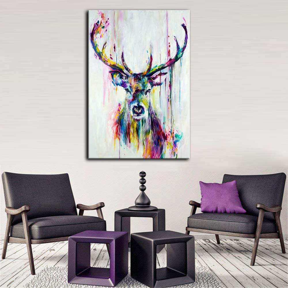 Canvas Wall Art | Colourful Deer Canvas Prints Framed Ready to Hang
