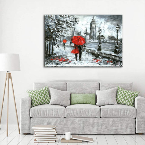 Canvas Wall Art | Red Umbrella Couple & Big Ben London Canvas Painting
