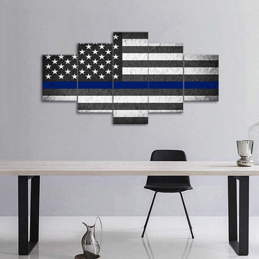 Canvas Wall Art | American Flag with a Blue Line Canvas Prints 5 Panels