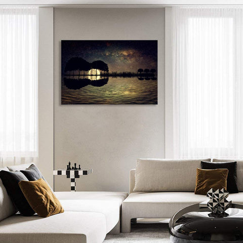 Canvas Wall Art | Guitar Island & Moonlight Canvas Painting