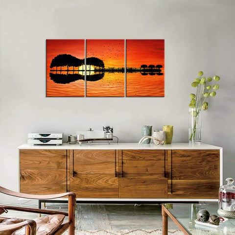 Canvas Wall Art |  Guitar Island & Setting Sun Canvas Painting 3 Panels