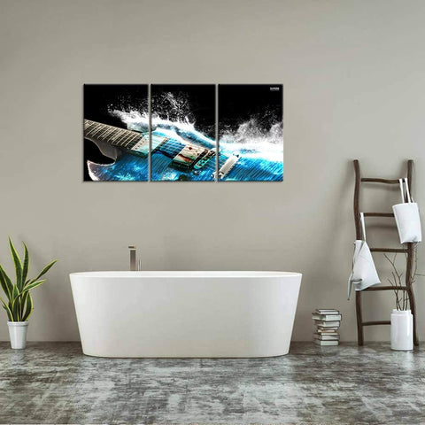 Canvas Wall Art | Black & Blue Guitar with Water Wave Canvas Painting 3 Panels