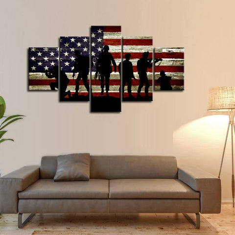 Canvas Wall Art | American Flag with Soldiers Canvas Prints 5 Panels