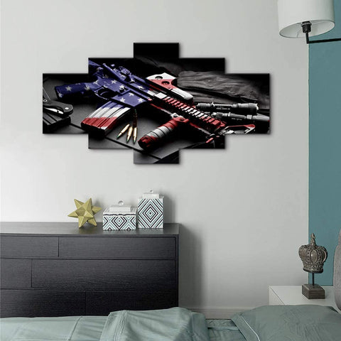 Canvas Wall Art | American Flag Painted Rifle Canvas Painting 5 Panels