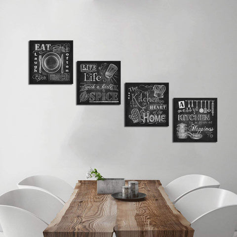 Canvas Wall Art | Chalkboard Kitchen Signs Canvas Prints 4 Panels