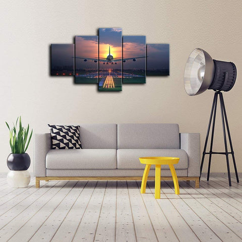 Canvas Wall Art | Setting Sun and Airplane Canvas Painting 5 Panels