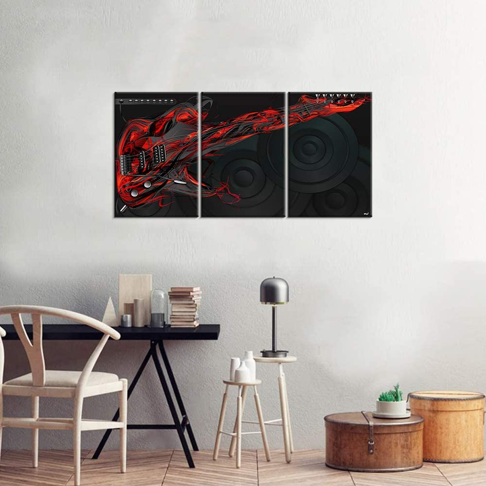 Canvas Wall Art | Black & Red Guitar Canvas Painting 3 Panels