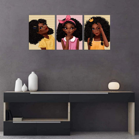 Canvas Wall Art | African American Black Girl Canvas Prints 3 Panels Framed Ready to Hang