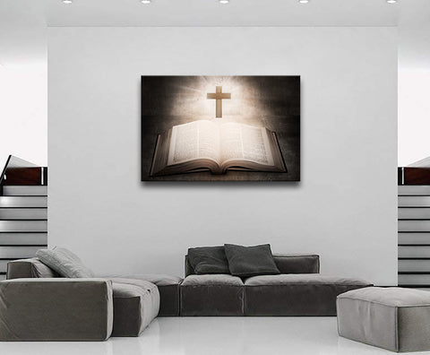Canvas Wall Art | Religious Jesus Christ Spiritual Canvas Prints Wall Art Christian Cross on A Bible Framed Ready to Hang