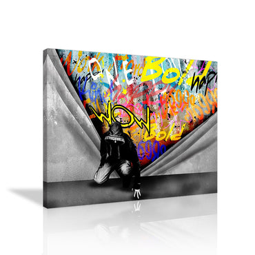 Canvas Wall Art | Banksy Graffiti Wall Art Pop Street Art Canvas Prints Framed