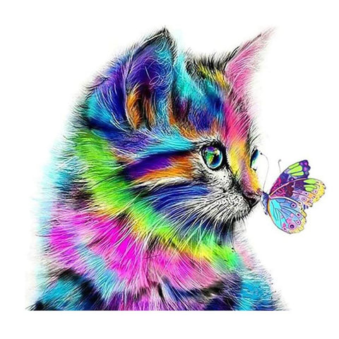 Diamond Painting | Colorful Cat & Butterfly | DIY Paint with Diamonds