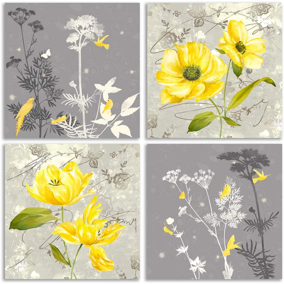 Canvas Wall Art | Yellow and Grey Flowers Canvas Prints 4 Panels Framed Ready to Hang