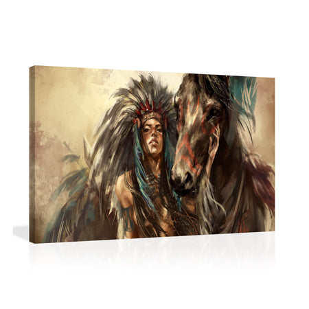 Canvas Wall Art | Retro Native American Girl & Horse Canvas Prints Framed Ready to Hang