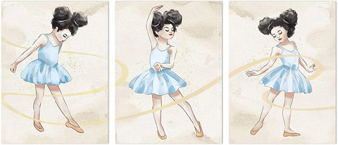 Canvas Wall Art | Ballet Dancing Girl Canvas Prints 3 Panels Framed Ready to Hang