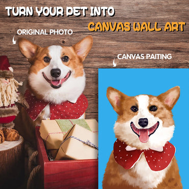 Custom Pet Portrait Canvas | Draw Your Dog, Cat & Other Pets into Canvas Wall Art