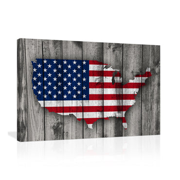 Canvas Wall Art | Vintage American Map Flag Canvas Prints Framed Ready to Hang
