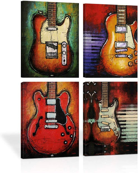 Canvas Wall Art |  Abstract Guitars Combination Canvas Painting 4 Panels