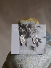 Load image into Gallery viewer, Engraved Leaf Studs Earrings