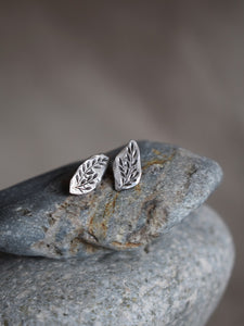 Engraved Leaf Studs Earrings
