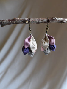 dancing leaf fabric earrings