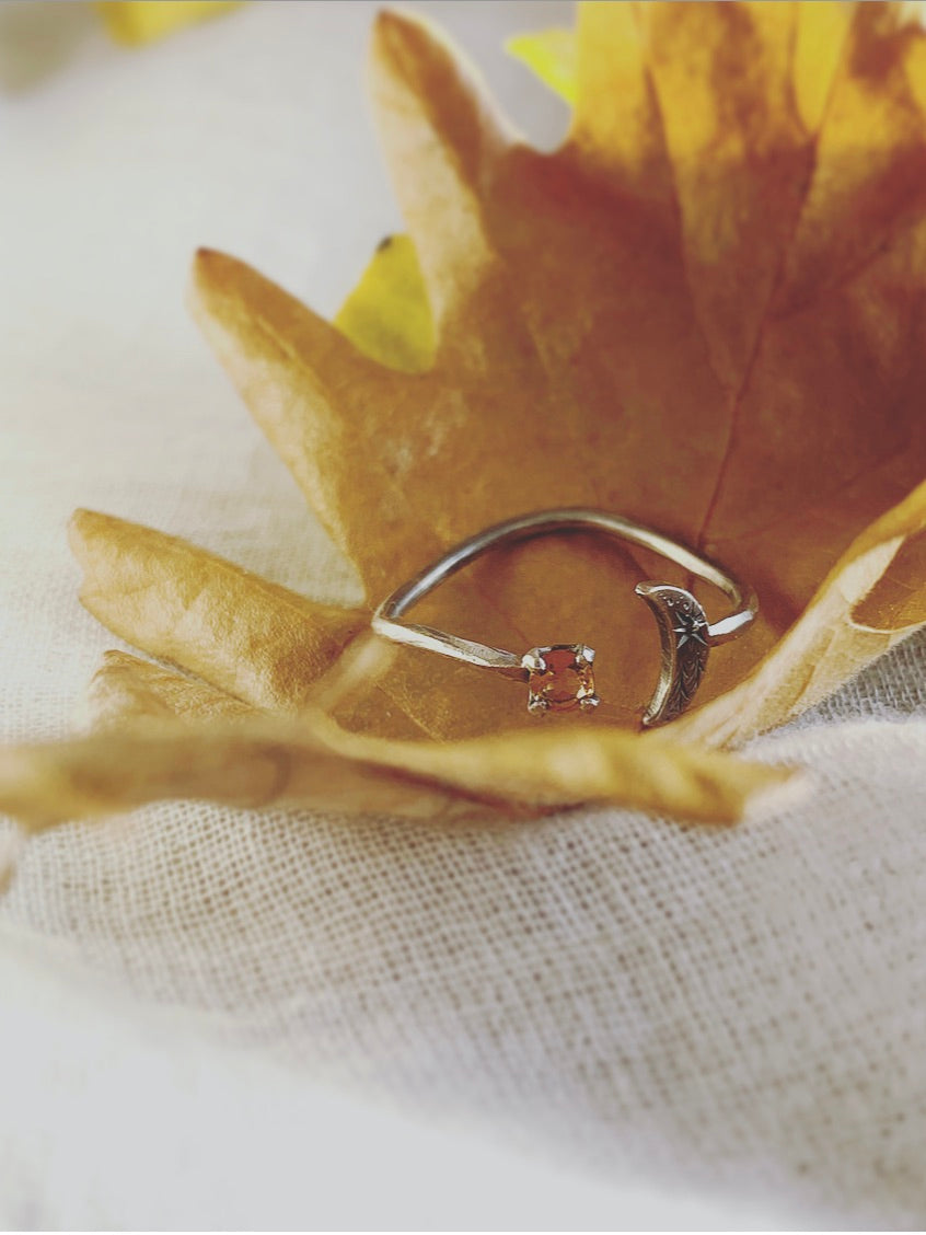 Crescent Moon & Citrine Star Ring