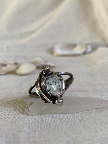 Moss Aquamarine with a silver leaf ring