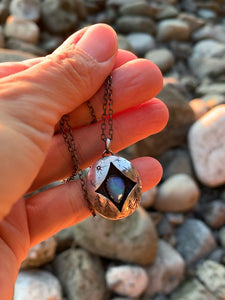 Shadow Box Pendant Necklace with an opal