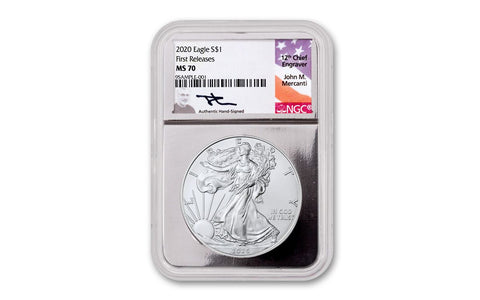 2020 $1 1-oz Silver Eagle NGC MS70 First Releases w/Silver Foil Core & Mercanti Signature
