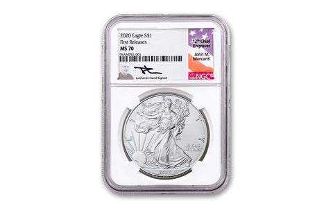 2020 $1 1-oz Silver Eagle NGC MS70 First Releases w/Mercanti Signature